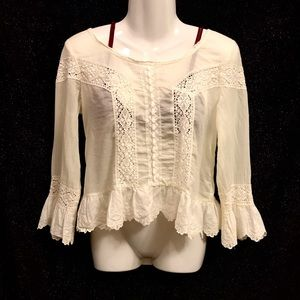 Free People White Linen Lacy Victorian Blouse, XS